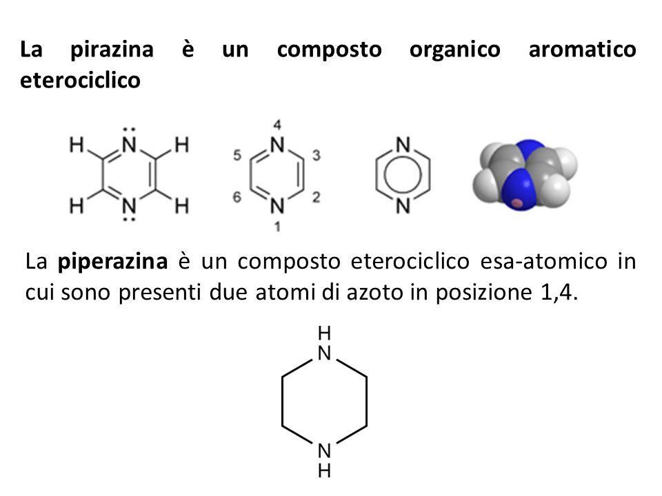 La pirazina è un composto organico aromatico eterociclico La piperazina è un composto eterociclico esa-atomico in cui sono presenti due atomi di azoto