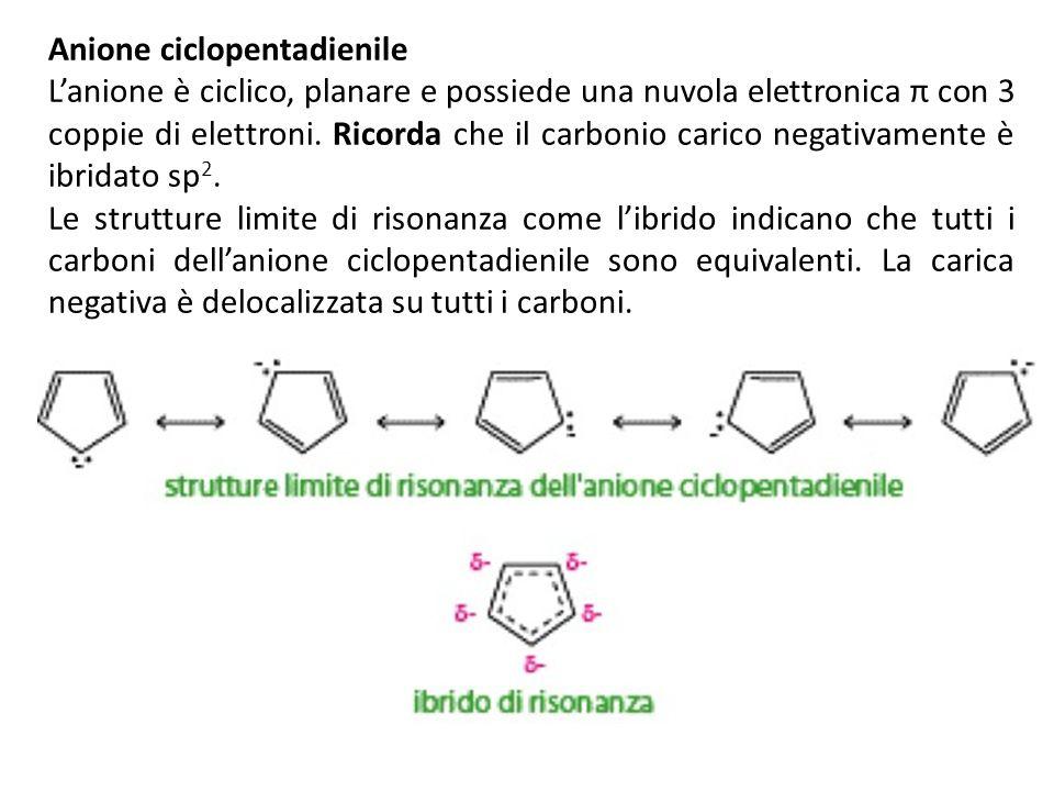Anione ciclopentadienile Lanione è ciclico, planare e possiede una nuvola elettronica π con 3 coppie di elettroni. Ricorda che il carbonio carico nega