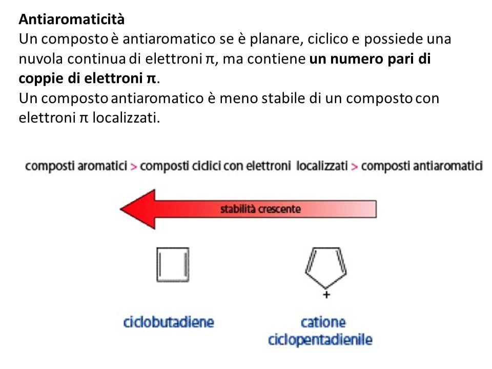 Antiaromaticità Un composto è antiaromatico se è planare, ciclico e possiede una nuvola continua di elettroni π, ma contiene un numero pari di coppie