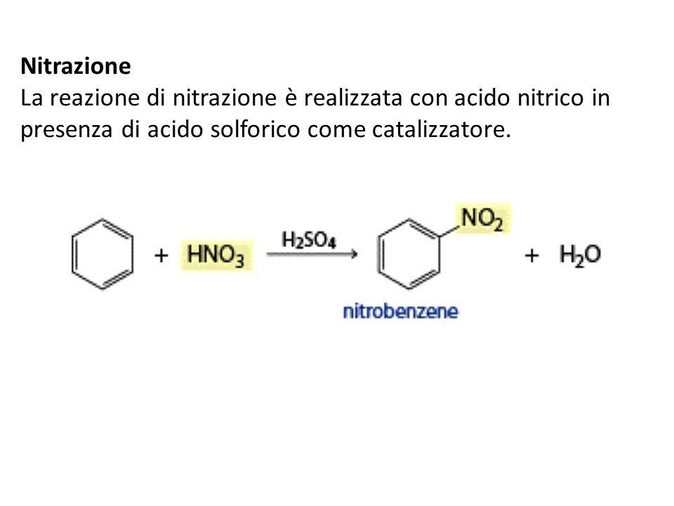 Nitrazione La reazione di nitrazione è realizzata con acido nitrico in presenza di acido solforico come catalizzatore.