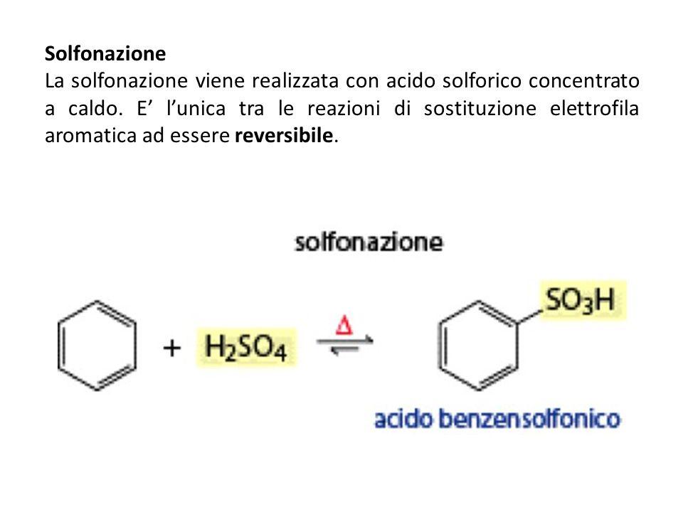Solfonazione La solfonazione viene realizzata con acido solforico concentrato a caldo. E lunica tra le reazioni di sostituzione elettrofila aromatica
