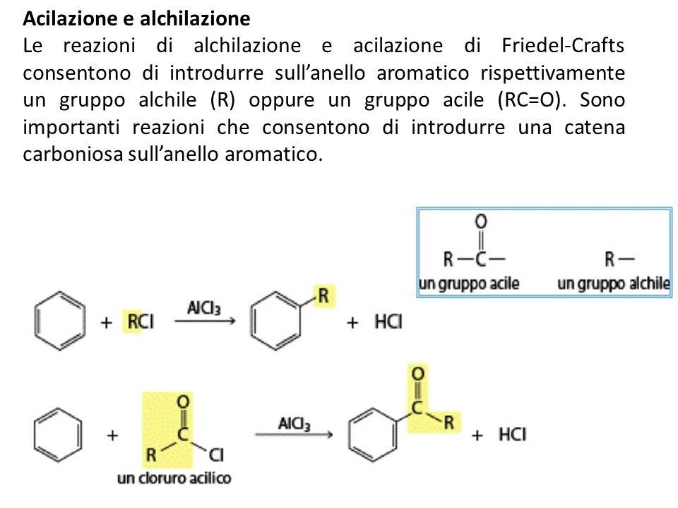 Acilazione e alchilazione Le reazioni di alchilazione e acilazione di Friedel-Crafts consentono di introdurre sullanello aromatico rispettivamente un