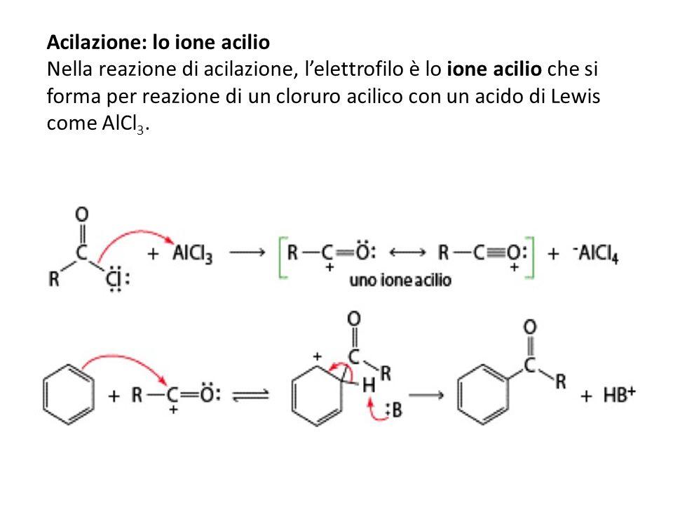 Acilazione: lo ione acilio Nella reazione di acilazione, lelettrofilo è lo ione acilio che si forma per reazione di un cloruro acilico con un acido di