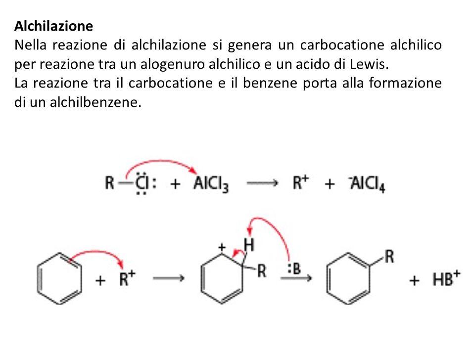 Alchilazione Nella reazione di alchilazione si genera un carbocatione alchilico per reazione tra un alogenuro alchilico e un acido di Lewis. La reazio