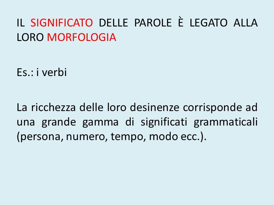 IL SIGNIFICATO DELLE PAROLE È LEGATO ALLA LORO MORFOLOGIA Es.: i verbi La ricchezza delle loro desinenze corrisponde ad una grande gamma di significat