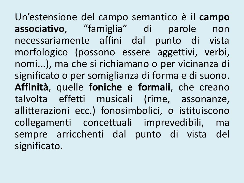Unestensione del campo semantico è il campo associativo, famiglia di parole non necessariamente affini dal punto di vista morfologico (possono essere