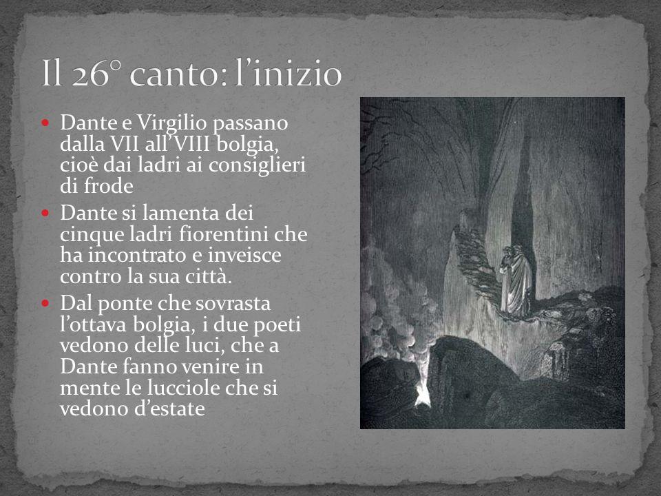 Dante e Virgilio passano dalla VII allVIII bolgia, cioè dai ladri ai consiglieri di frode Dante si lamenta dei cinque ladri fiorentini che ha incontra