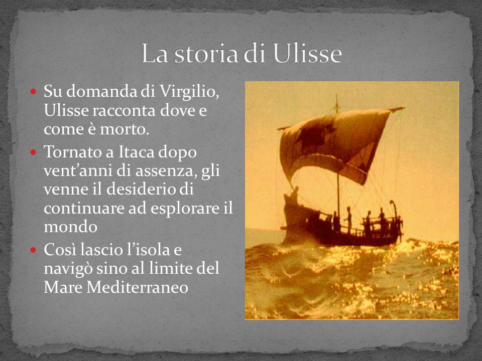 Su domanda di Virgilio, Ulisse racconta dove e come è morto. Tornato a Itaca dopo ventanni di assenza, gli venne il desiderio di continuare ad esplora