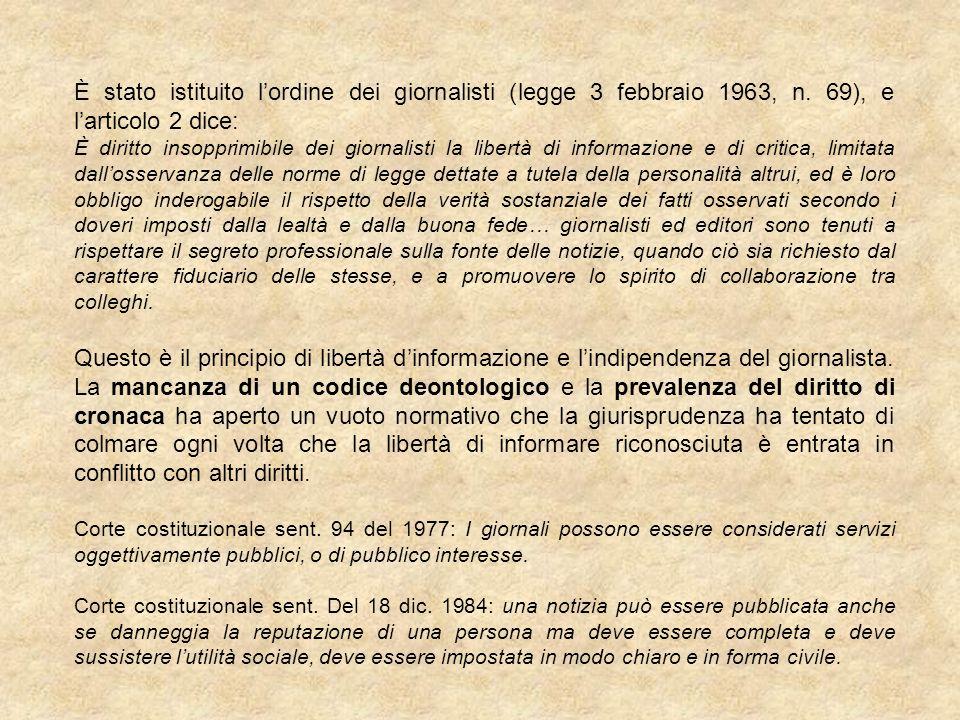 È stato istituito lordine dei giornalisti (legge 3 febbraio 1963, n. 69), e larticolo 2 dice: È diritto insopprimibile dei giornalisti la libertà di i