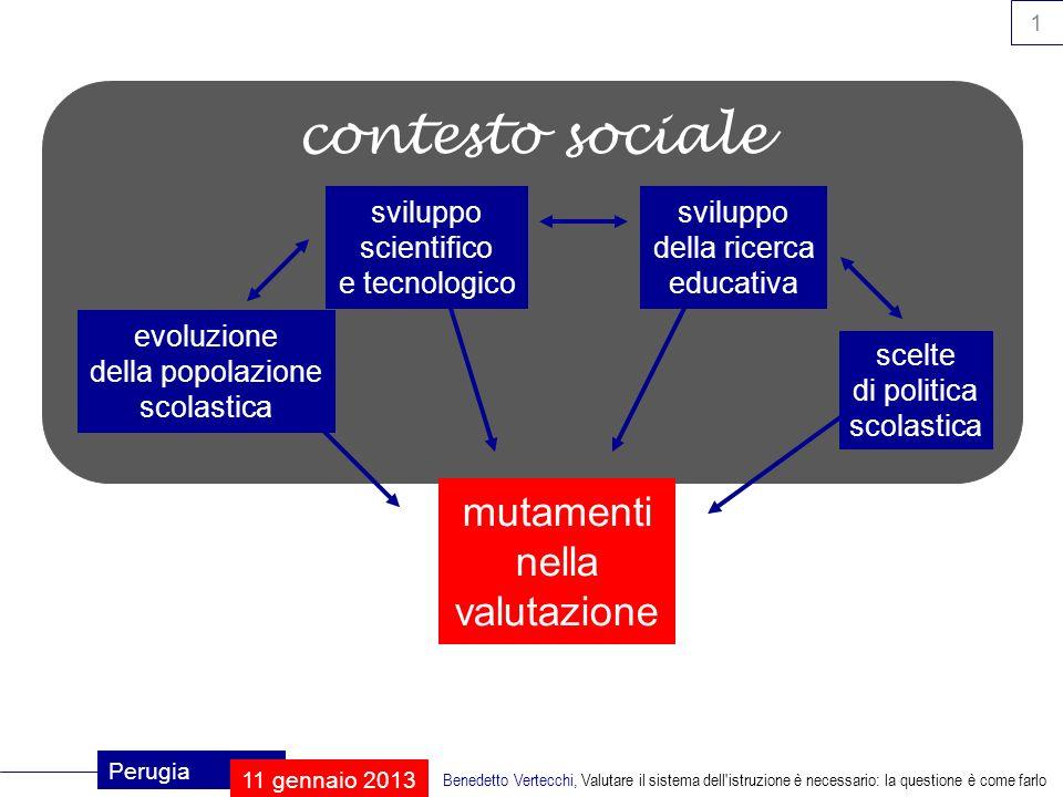 2 Perugia 11 gennaio 2013 Benedetto Vertecchi, Valutare il sistema dell istruzione è necessario: la questione è come farlo che cosa fa la scuola.