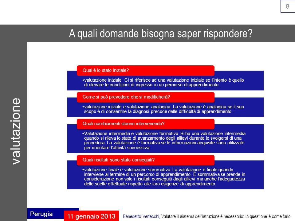 9 Perugia 11 gennaio 2013 Benedetto Vertecchi, Valutare il sistema dell istruzione è necessario: la questione è come farlo domanda di istruzione crescita della scolarizzazione piena scolarizzazione domanda di qualità dellistruzione valutazione