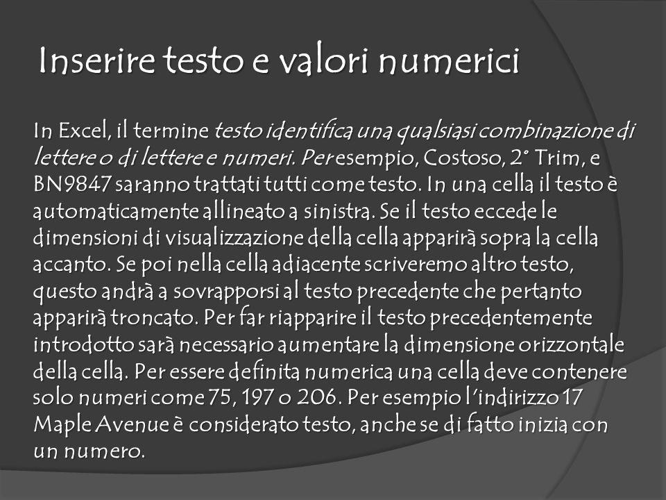 Inserire testo e valori numerici In Excel, il termine testo identifica una qualsiasi combinazione di lettere o di lettere e numeri.