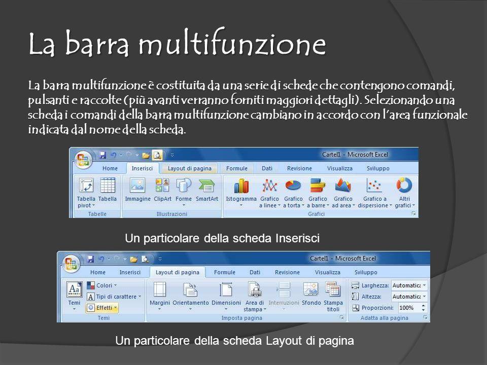 La barra multifunzione La barra multifunzione è costituita da una serie di schede che contengono comandi, pulsanti e raccolte (più avanti verranno forniti maggiori dettagli).