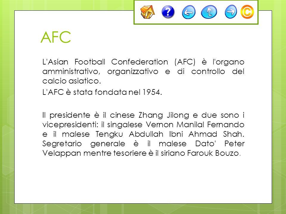 AFC L'Asian Football Confederation (AFC) è l'organo amministrativo, organizzativo e di controllo del calcio asiatico. L'AFC è stata fondata nel 1954.