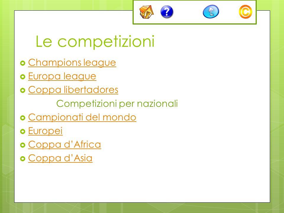 Le competizioni Champions league Europa league Coppa libertadores Competizioni per nazionali Campionati del mondo Europei Coppa dAfrica Coppa dAsia