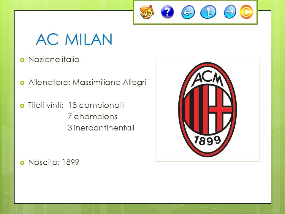 AC MILAN Nazione italia Allenatore: Massimiliano Allegri Titoli vinti: 18 campionati 7 champions 3 inercontinentali Nascita: 1899