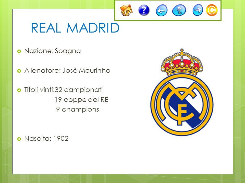 REAL MADRID Nazione: Spagna Allenatore: Josè Mourinho Titoli vinti:32 campionati 19 coppe del RE 9 champions Nascita: 1902