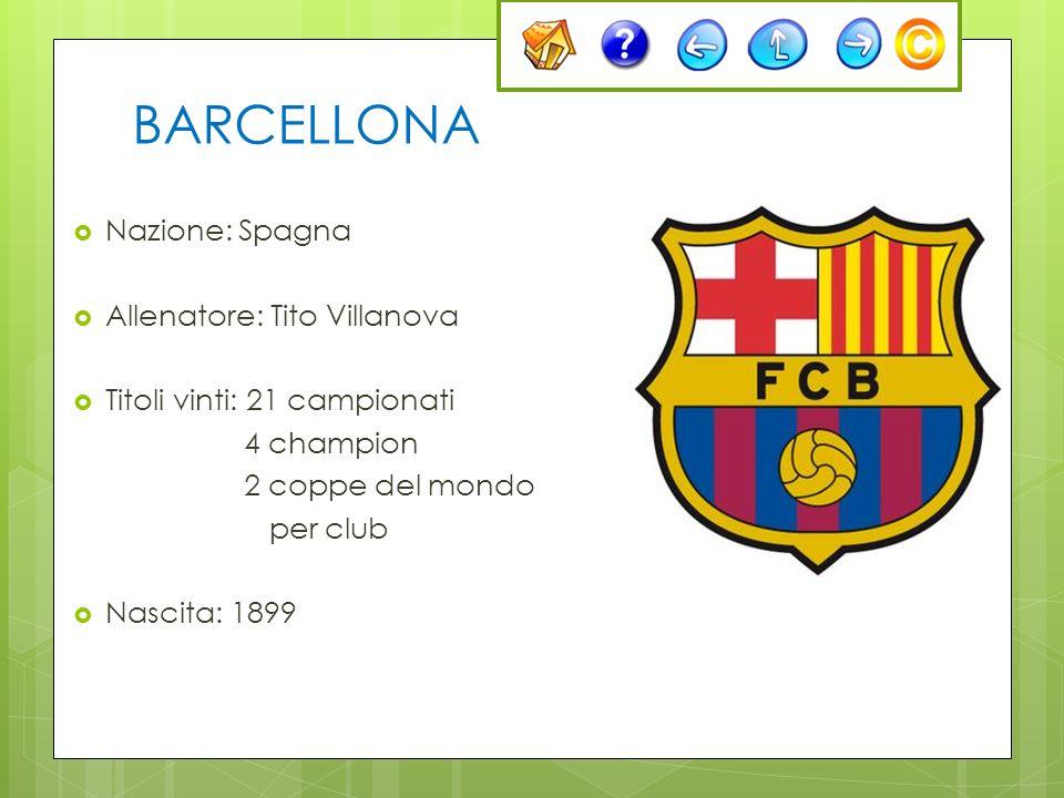 BARCELLONA Nazione: Spagna Allenatore: Tito Villanova Titoli vinti: 21 campionati 4 champion 2 coppe del mondo per club Nascita: 1899