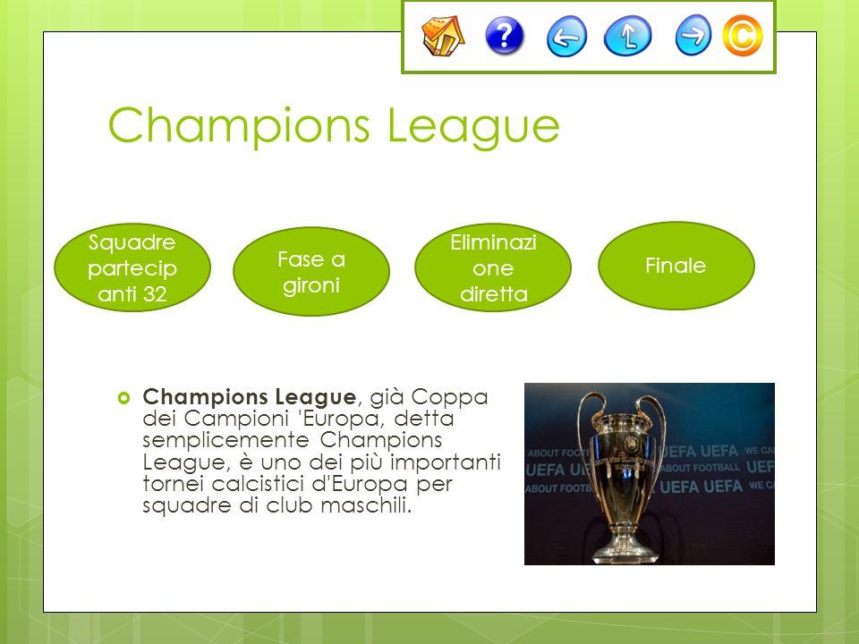 Champions League Champions League, già Coppa dei Campioni 'Europa, detta semplicemente Champions League, è uno dei più importanti tornei calcistici d'