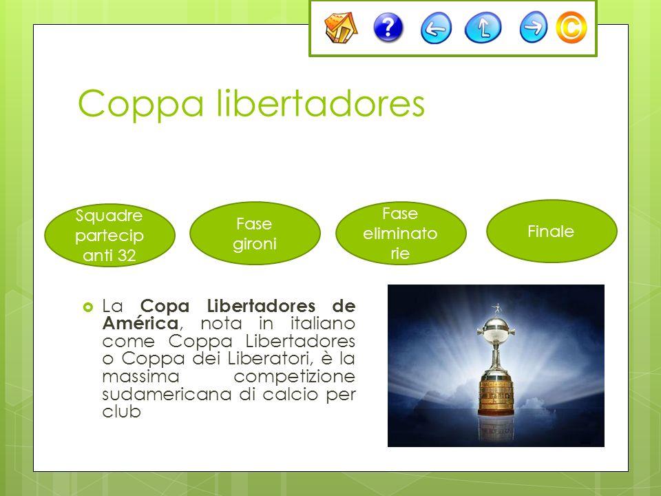 Coppa libertadores La Copa Libertadores de América, nota in italiano come Coppa Libertadores o Coppa dei Liberatori, è la massima competizione sudamer