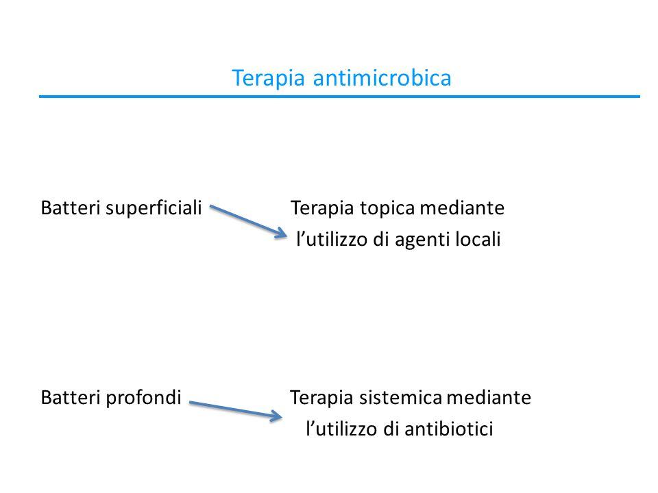 Terapia antimicrobica Batteri superficiali Terapia topica mediante lutilizzo di agenti locali Batteri profondi Terapia sistemica mediante lutilizzo di antibiotici