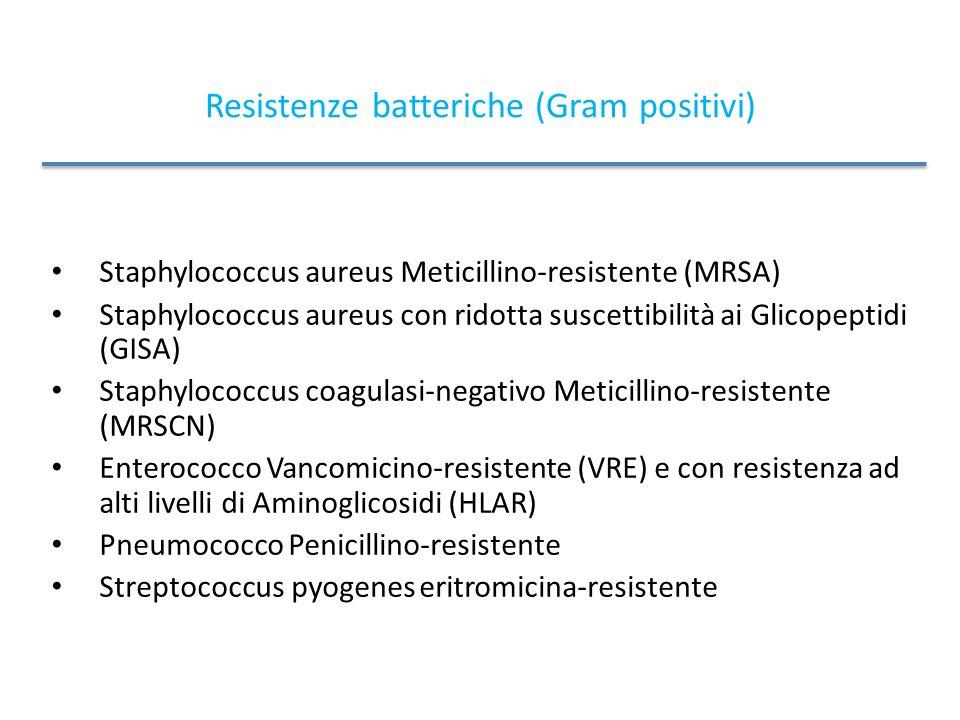 Resistenze batteriche (Gram positivi) Staphylococcus aureus Meticillino-resistente (MRSA) Staphylococcus aureus con ridotta suscettibilità ai Glicopeptidi (GISA) Staphylococcus coagulasi-negativo Meticillino-resistente (MRSCN) Enterococco Vancomicino-resistente (VRE) e con resistenza ad alti livelli di Aminoglicosidi (HLAR) Pneumococco Penicillino-resistente Streptococcus pyogenes eritromicina-resistente