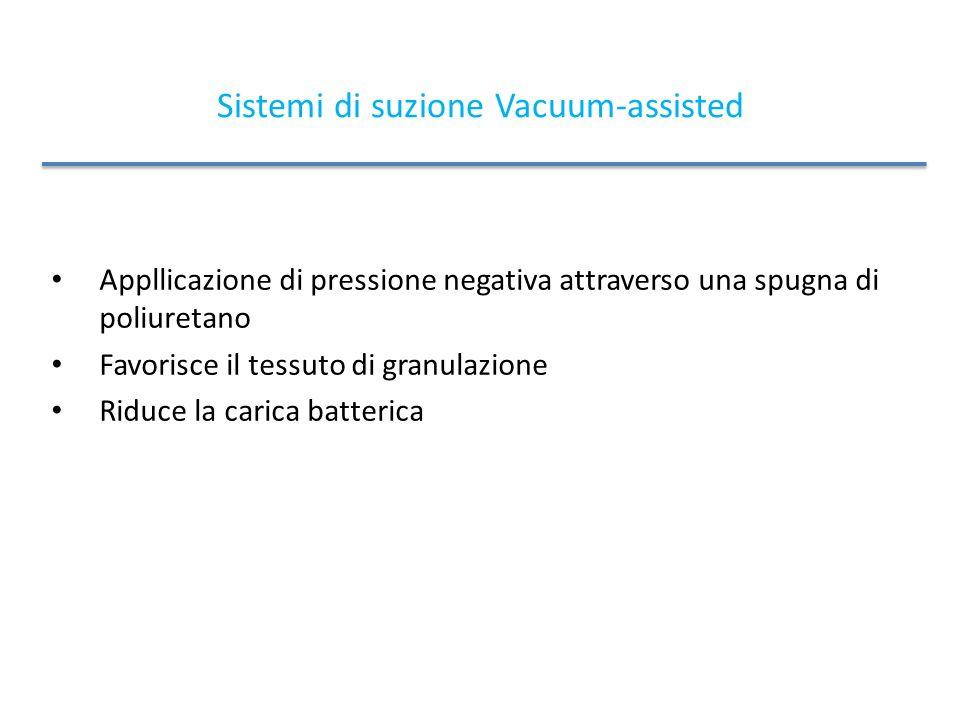 Sistemi di suzione Vacuum-assisted Appllicazione di pressione negativa attraverso una spugna di poliuretano Favorisce il tessuto di granulazione Riduce la carica batterica