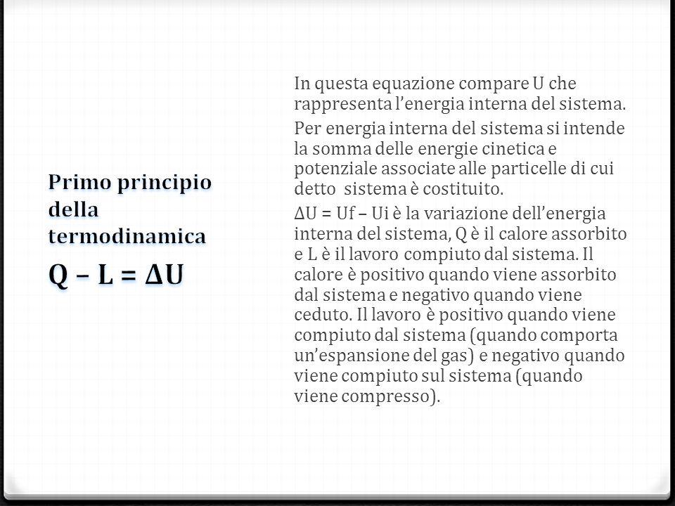 In questa equazione compare U che rappresenta lenergia interna del sistema. Per energia interna del sistema si intende la somma delle energie cinetica