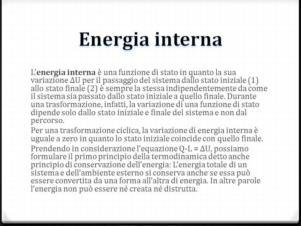 Lenergia interna è una funzione di stato in quanto la sua variazione ΔU per il passaggio del sistema dallo stato iniziale (1) allo stato finale (2) è