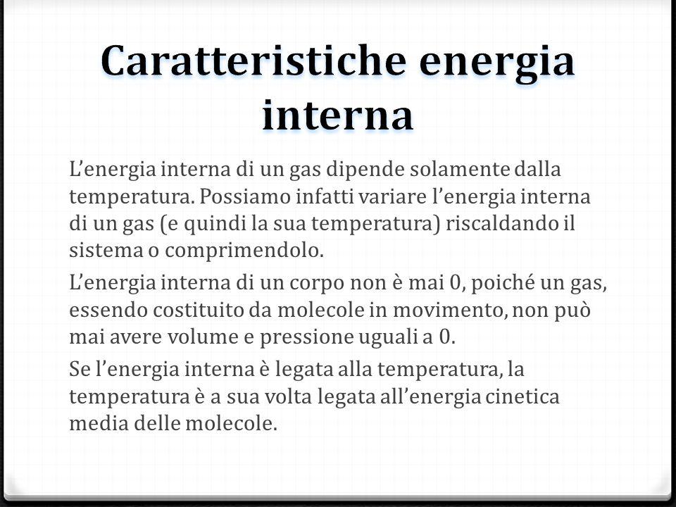 Lenergia interna di un gas dipende solamente dalla temperatura. Possiamo infatti variare lenergia interna di un gas (e quindi la sua temperatura) risc