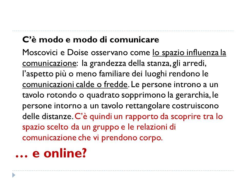 Cè modo e modo di comunicare Moscovici e Doise osservano come lo spazio influenza la comunicazione: la grandezza della stanza, gli arredi, laspetto pi