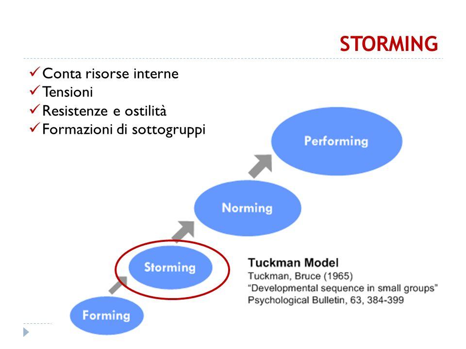 STORMING Conta risorse interne Tensioni Resistenze e ostilità Formazioni di sottogruppi