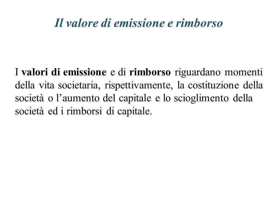 Il valore di emissione e rimborso I valori di emissione e di rimborso riguardano momenti della vita societaria, rispettivamente, la costituzione della