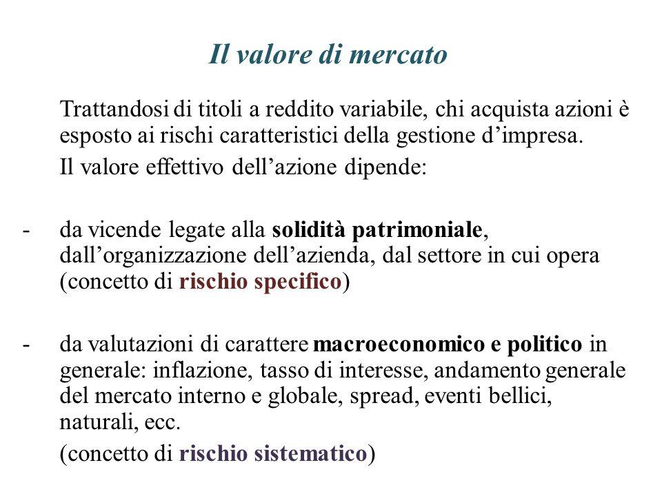 Il valore di mercato Trattandosi di titoli a reddito variabile, chi acquista azioni è esposto ai rischi caratteristici della gestione dimpresa. Il val