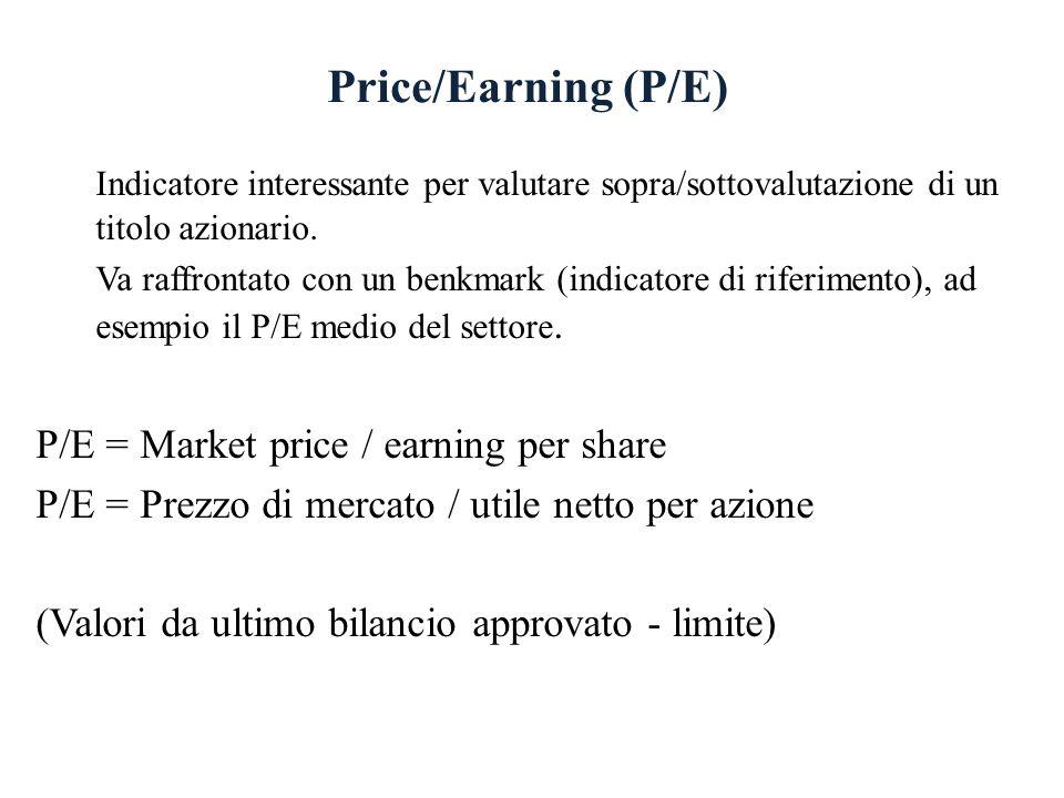 Price/Earning (P/E) Indicatore interessante per valutare sopra/sottovalutazione di un titolo azionario. Va raffrontato con un benkmark (indicatore di