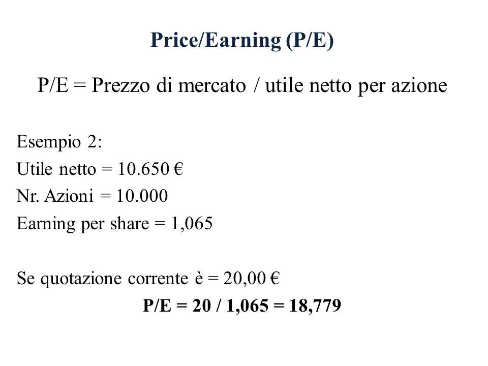 Price/Earning (P/E) P/E = Prezzo di mercato / utile netto per azione Esempio 2: Utile netto = 10.650 Nr. Azioni = 10.000 Earning per share = 1,065 Se