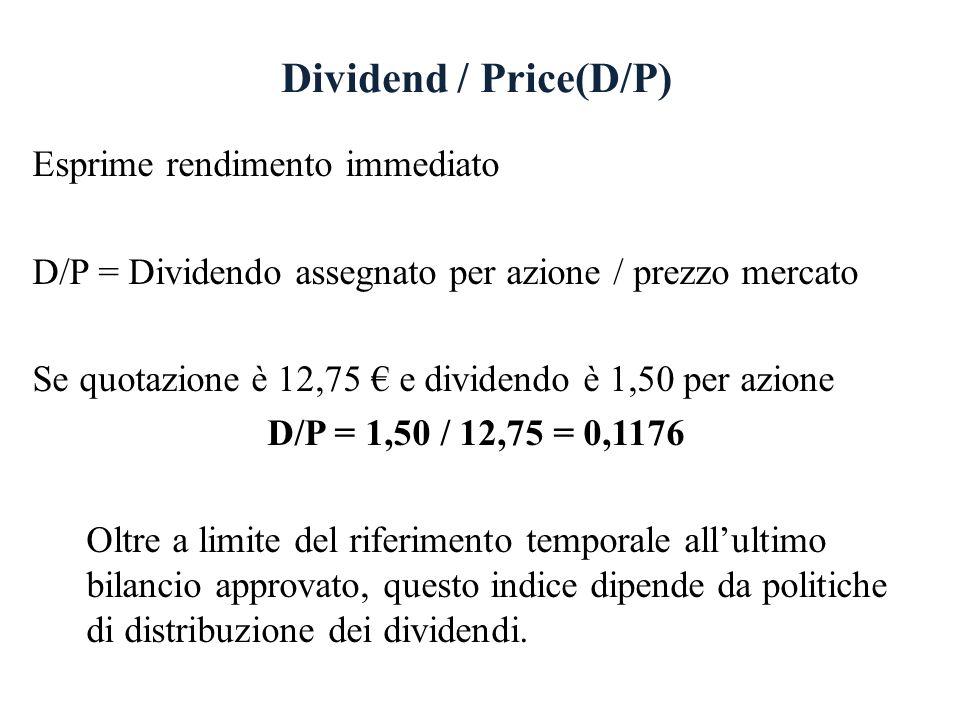 Dividend / Price(D/P) Esprime rendimento immediato D/P = Dividendo assegnato per azione / prezzo mercato Se quotazione è 12,75 e dividendo è 1,50 per azione D/P = 1,50 / 12,75 = 0,1176 Oltre a limite del riferimento temporale allultimo bilancio approvato, questo indice dipende da politiche di distribuzione dei dividendi.