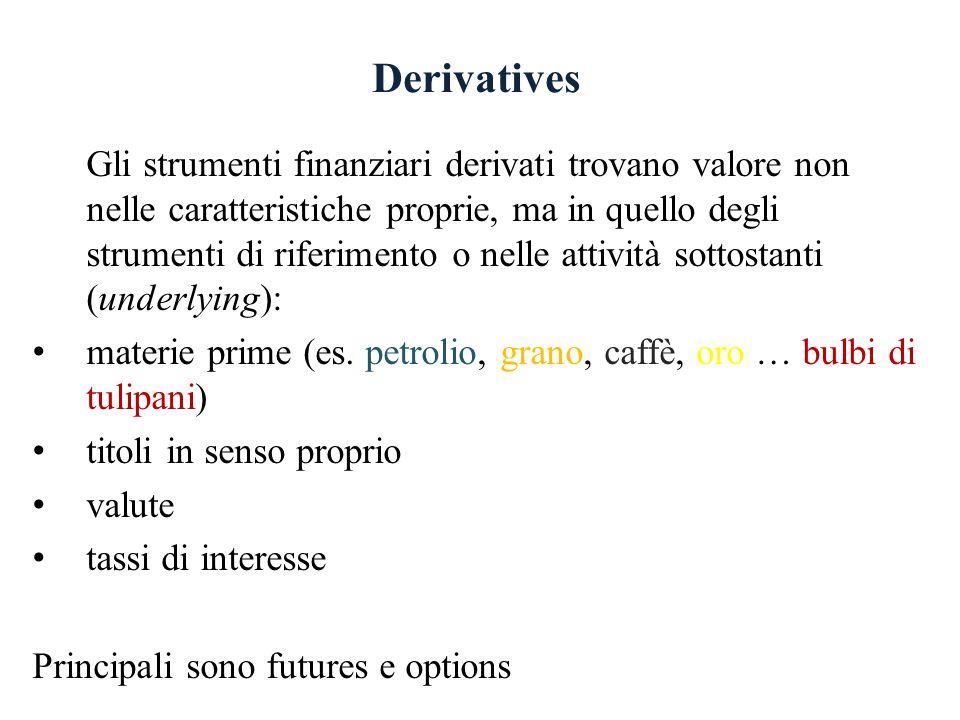 Derivatives Gli strumenti finanziari derivati trovano valore non nelle caratteristiche proprie, ma in quello degli strumenti di riferimento o nelle attività sottostanti (underlying): materie prime (es.