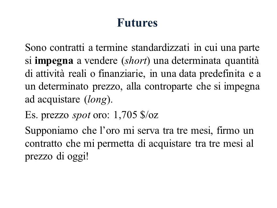 Futures Sono contratti a termine standardizzati in cui una parte si impegna a vendere (short) una determinata quantità di attività reali o finanziarie, in una data predefinita e a un determinato prezzo, alla controparte che si impegna ad acquistare (long).