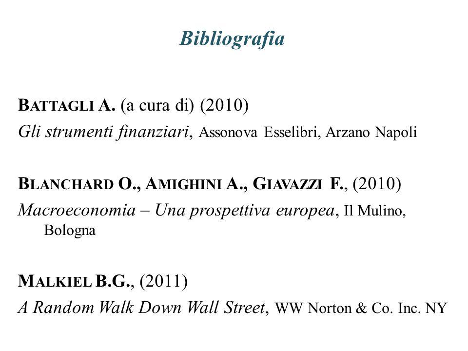 Bibliografia B ATTAGLI A. (a cura di) (2010) Gli strumenti finanziari, Assonova Esselibri, Arzano Napoli B LANCHARD O., A MIGHINI A., G IAVAZZI F., (2