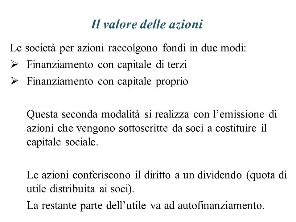 Il valore delle azioni Le società per azioni raccolgono fondi in due modi: Finanziamento con capitale di terzi Finanziamento con capitale proprio Ques