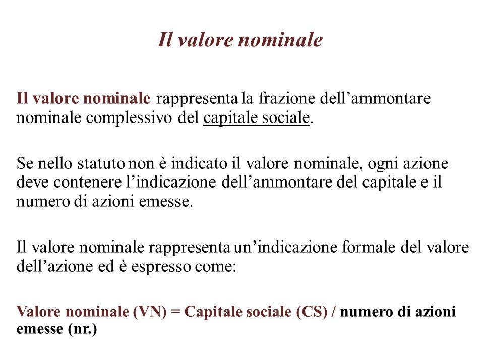 Il valore nominale, un esempio Valore nominale (VN) = Capitale sociale (CS) / numero di azioni emesse (nr.) Si consideri una S.p.A.: Capitale sociale (CS) = 120.000 Numero azioni emesse (nr.) = 10.000 Valore nominale = 120.000 / 10.000 = 12,00
