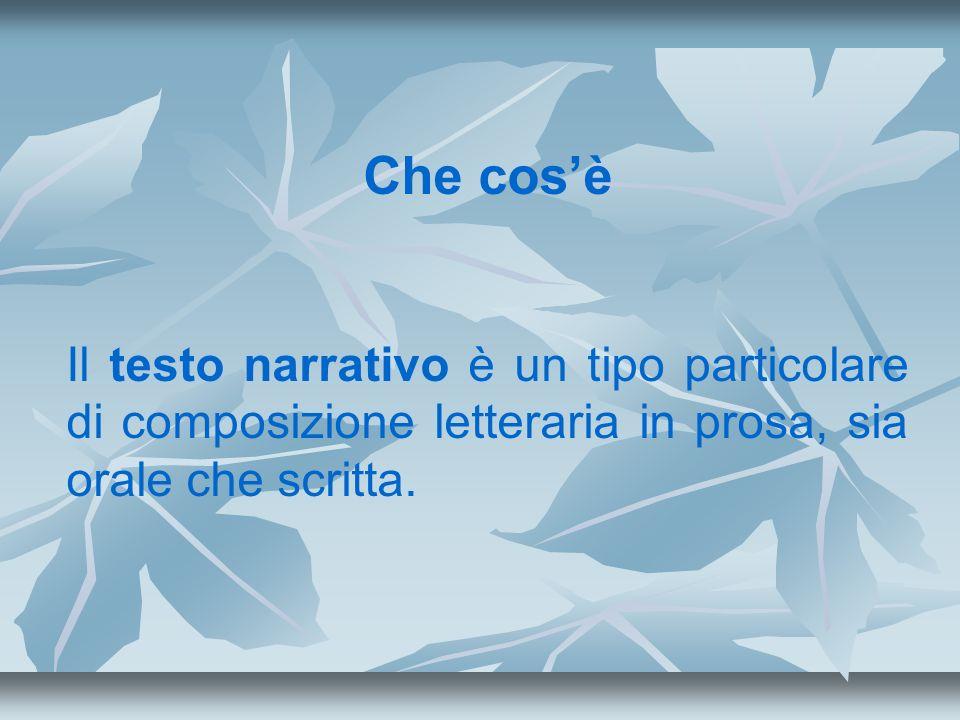 Gli elementi essenziali di una storia sono: i personaggi; le azioni; lo spazio narrativo; il tempo del racconto; la voce narrante o narratore; il punto di vista o focalizzazione.