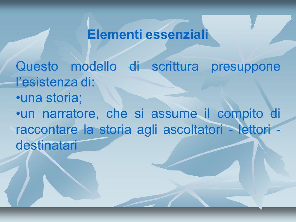 Elementi essenziali Questo modello di scrittura presuppone lesistenza di: una storia; un narratore, che si assume il compito di raccontare la storia a