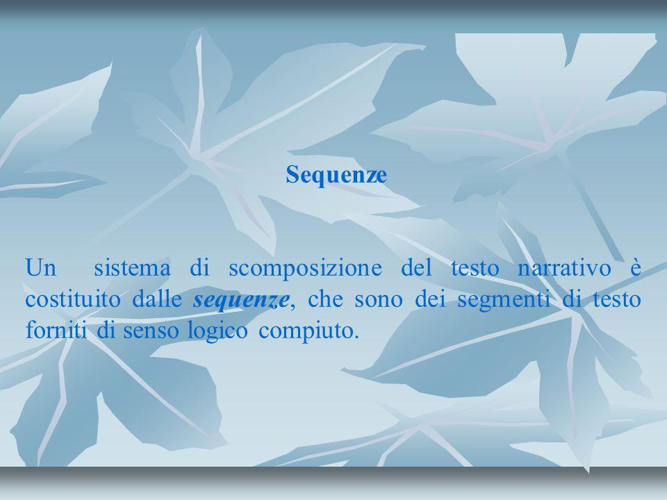 Sequenze Un sistema di scomposizione del testo narrativo è costituito dalle sequenze, che sono dei segmenti di testo forniti di senso logico compiuto.