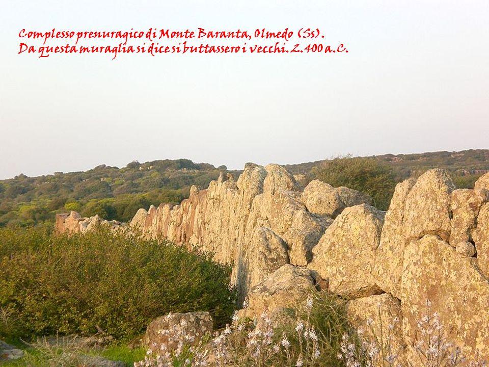 nelle civiltà tradizionali Michela Zucca Servizi Culturali Complesso prenuragico di Monte Baranta, Olmedo (Ss). Da questa muraglia si dice si buttasse