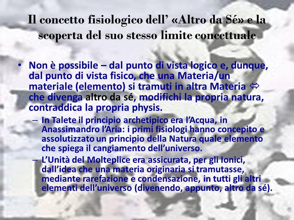Il concetto fisiologico dell «Altro da Sé» e la scoperta del suo stesso limite concettuale Non è possibile – dal punto di vista logico e, dunque, dal