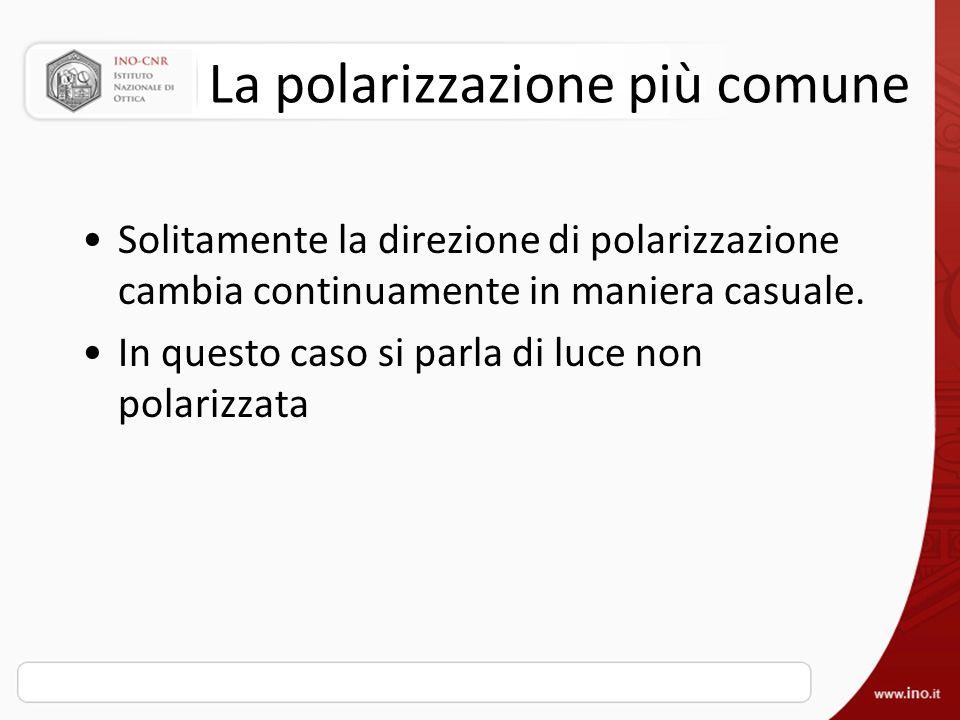 La polarizzazione più comune Solitamente la direzione di polarizzazione cambia continuamente in maniera casuale. In questo caso si parla di luce non p