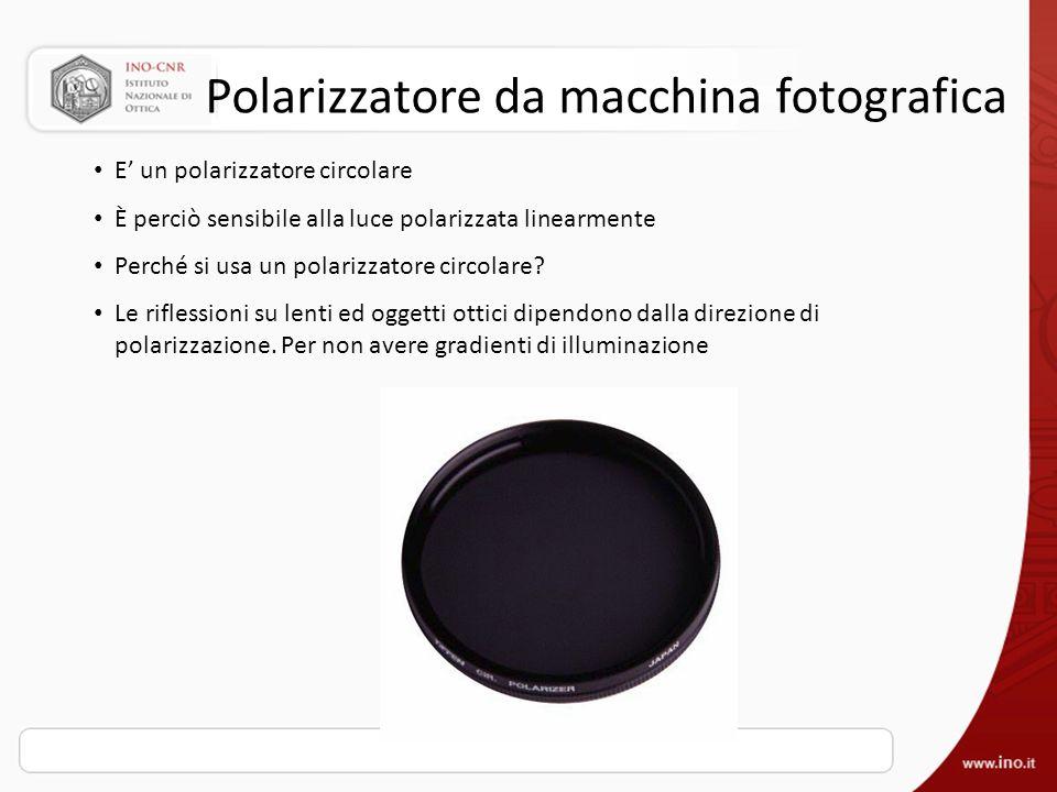 Polarizzatore da macchina fotografica E un polarizzatore circolare È perciò sensibile alla luce polarizzata linearmente Perché si usa un polarizzatore