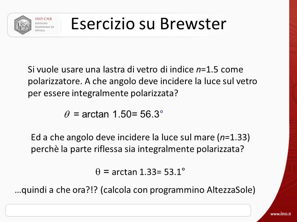 Esercizio su Brewster Si vuole usare una lastra di vetro di indice n=1.5 come polarizzatore. A che angolo deve incidere la luce sul vetro per essere i